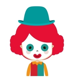 Half body funny small clown with hat vector
