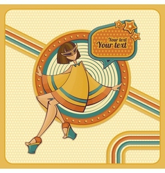 card with girl in retro style vector image