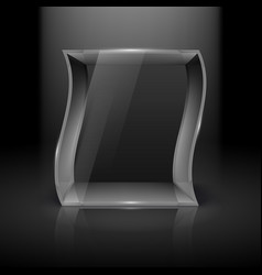 Empty glass showcase in wave form with spot light vector