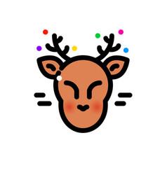 thin line christmas deer vector image