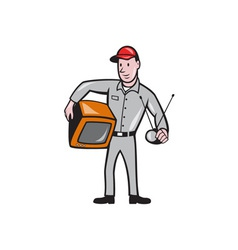 Tv repairman technician cartoon vector