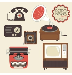 Retro devices set vector