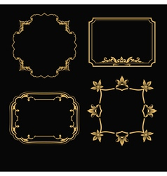 Patterned gold frame vector