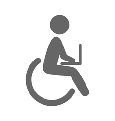 Disability man with notebook pictogram flat icon vector