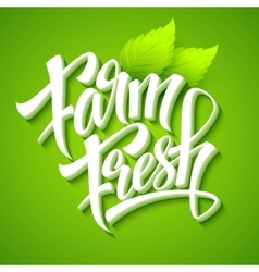 Farm fresh calligraphic inscription vector