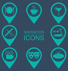 Navigation icons silhouette icons public places vector