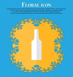 Bottle floral flat design on a blue abstract vector
