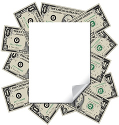 Money frames this blank page vector image