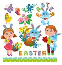Easter set of design vector