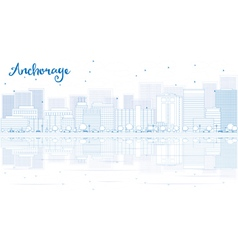 Outline anchorage skyline with blue buildings vector