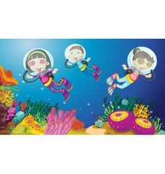 Kids underwater vector