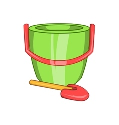 Children bucket with shovel icon cartoon style vector