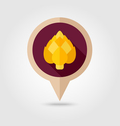 Artichoke flat pin map icon vegetable vector