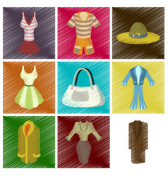 assembly flat shading style icons fashion clothes vector image vector image