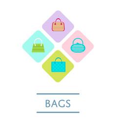 bags shop icon set in flat design vector image