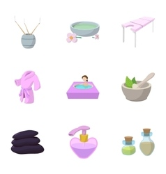 Beauty salon icons set cartoon style vector