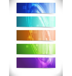 Bright abstract mechanical tech cards collection vector image vector image