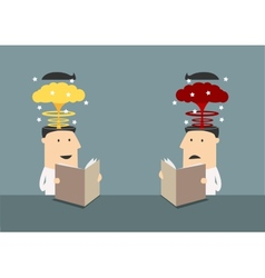 Businessmen with brains explosions in heads vector image