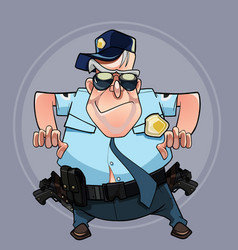 cartoon man in a police uniform wants to seize vector image