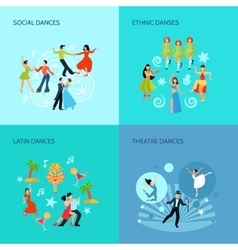 Dance styles flat concept vector