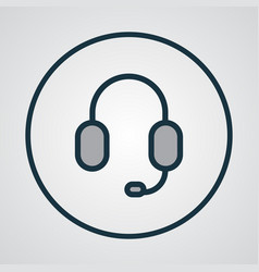 Earphone colorful outline symbol premium quality vector