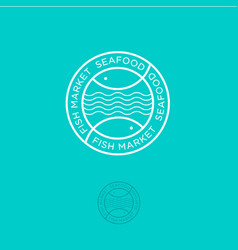 fish market seafood shop letters and fish vector image