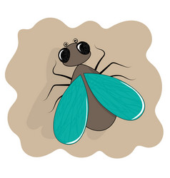 fly icon flat cartoon insect vector image
