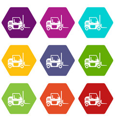 forklift icon set color hexahedron vector image