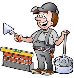 Happy bricklayer handyman vector
