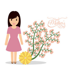 Happy mothers day cute mom flower festive vector