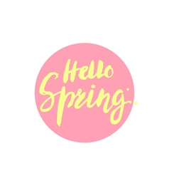 Hello spring brush lettering handdrawn vector