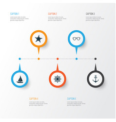 Hot icons set collection of goggles star vector