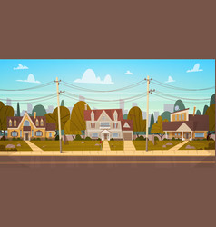 Houses in suburb of big city in summer cottage vector