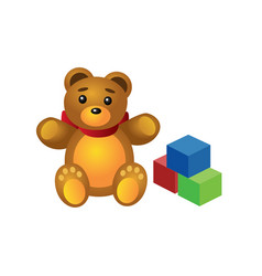 Isometric cute teddy bear and colorful cubes vector