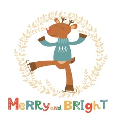 Merry and bright card with cute deer boy vector