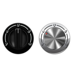 metal and black plastic knob switch car air vector image