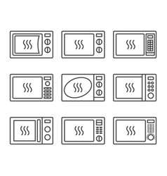 microwave oevn icon set vector image
