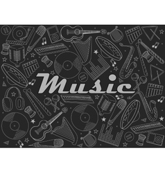 Music instruments chalk vector