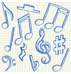 Musical notes doodles vector