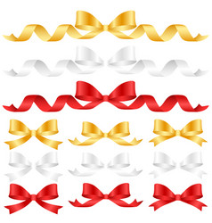ornament bow collection set ribbon color gold vector image