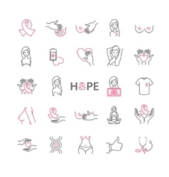 Outline web icons set - breast cancer pink ribbon vector