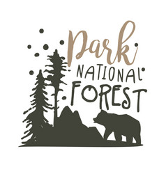 Park national forest promo sign hand drawn vector