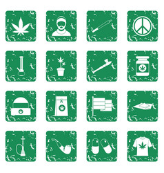 Rastafarian icons set grunge vector