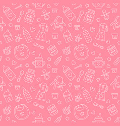 Seamless pattern baby food pastel color vector