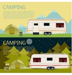 Set of camping banners vector image vector image