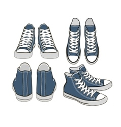 set of isolated cartoon blue sneakers vector image