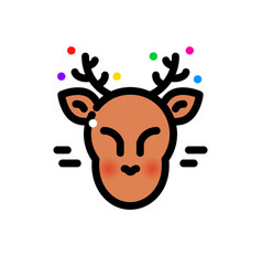 Thin line christmas deer vector