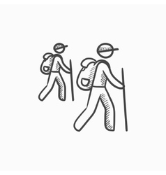 Tourist backpackers sketch icon vector