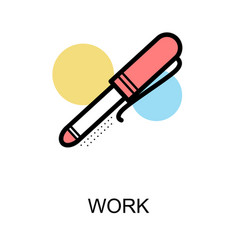 work icon with pen on white background vector image vector image