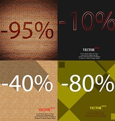 10 40 80 icon set of percent discount on abstract vector